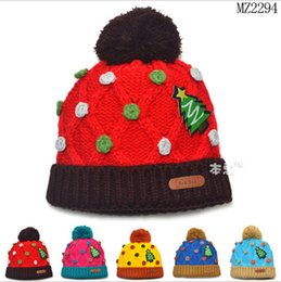 Wholesale Knitting Kids Hats Design - Retail Unisex Baby Children Winter Knitted Hat Christmas Tree Design Caps Kids Accessories Free Shipping 1 PCS