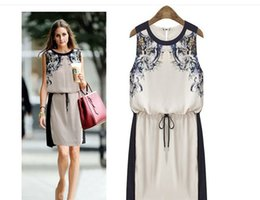 Wholesale Digital Printed Satin - 2016 summer European and American high-end digital printing sleevelessthin waist strap dress