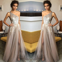 Wholesale one shoulder sequin formal dresses - 2018 Fashion Formal Long Evening Celebrity Gowns Sequined One Shoulder Side Split Tulle Prom Party Dresses vestidos de fiesta