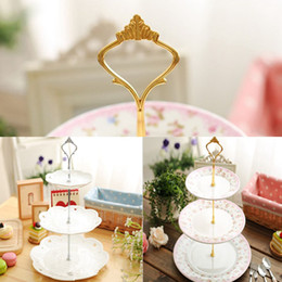 Wholesale Silver Cake Stand Fittings - 1set Gold Silver 3 or 2 Tier Cake Plate Crown Stand Handle Fitting Rod Wedding Party Free Shipping