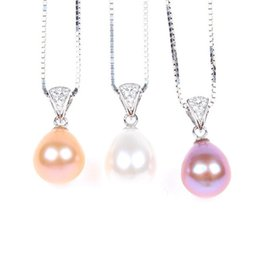 Wholesale Copper Gilding - Freshwater pearl necklace S925 sterling silver gilt Zircon Pendant pearl jewelry