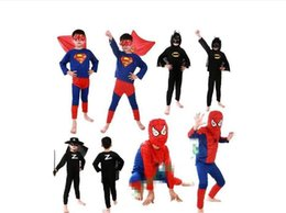 Wholesale Unisex Kids Clothing Sets - 5 color Halloween costume party Spiderman clothing clothes Kits Kids BABY long sleeve superhero costume cosplay set
