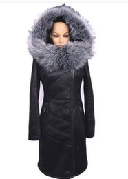Wholesale New Fox Fur Collar - Wholesale-2015 new women warm black winter coat fox fur collar thick leather jacket Women's Clothing large size hooded winter jacket women