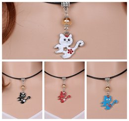 Wholesale Vintage Glass Charms Pendants - Vintage Silver Enamel Mixed Cat Charms Choker Genuine Leather Collar Necklace&Pendants For Women Dress Fashion Jewelry 8PCS S361