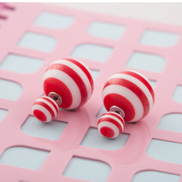 Wholesale Candy Earring Colorful - Wholesale Big Ball Stud Earrings Candy Colorful Stripe Earring Summer Holiday Stud Earring Hot Selling Fasion Jewelry