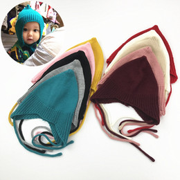 Wholesale Baby Fall Hat - Baby Earmuffs Crochet Hats 10 Colors Tie Bow knitting Bandage Tip Wool Caps Unisex Girl Boy Fall Spring Winter