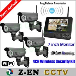 "Wholesale Surveillance Dvr Kit Diy - New 7"" LCD Monitor Wireless Home Surveillance System Quad SD Recording IR PIR Alarm 4CH Digital CCTV DVR Security Camera Kit DIY"