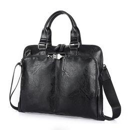 Wholesale Leather Briefcase Laptop - Business Briefcase Leather Men Bag Computer Laptop Handbag Man Shoulder Bag Messenger Bags Men's Travel Bags Black Brown