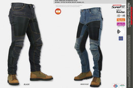 Wholesale Motorcycle Pants Komine - JAPAN KOMINE PK719 Locomotive jeans summer half mesh Leisure Motorcycle Jeans With knee protector Rider pants CE Gear Size S M L XL XXL XXXL