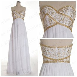 Wholesale Sweetheart Appliques Beaded Ruched - Real Picture Modest Beaded Elegant White Vintage Evening Dresses Sweetheart Neck Gold Applique Sleeveless Ruched Chiffon Custom Made Dresses