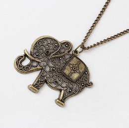 Wholesale Long Elephant Pendant Necklace - Europe and the United States retro fine hollowed out elephant Long Necklace 36M