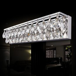 Wholesale crystal bathroom mirror - Sconce Light Wall Light Crystal K9 LED Modern Bathroom Mirror Front Light Fixture Bedroom Lamp Bathroom Lighting Fixtures