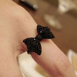 Wholesale Jewelry Black Bow Rings - Wholesale- Fashion Vintage Black Cute Rhinestone Butterfly Bow Rings Jewelry Accessories Hot Sale For Women 2017