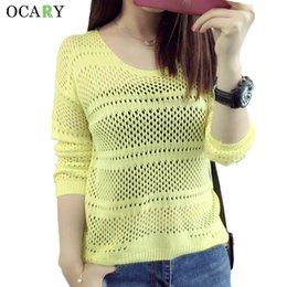 Wholesale long beach sweater - Wholesale- Spring Summer Women Pullovers Sexy Hollow Out Thin Pullover Knitted Lady Body Tops Beach Sweater Mujer 2016 Pull Femme Plus Size
