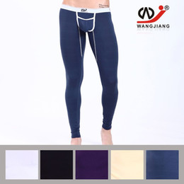 Wholesale Tights Warm Legs - New warm WJ brand sexy modal thermal underwear thermo underwear man long john underpants winter autumn underpants legging tight