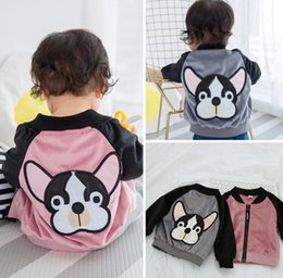 Wholesale boy toddlers jacket - Baby Girls Boys Cartoon Dog Patches Jackets Infant Toddler Casual Long Sleeve zipper coat korean clothes Children Outwear Coats Clothing