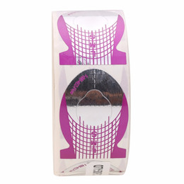 Wholesale Nail Fish - form 500 pcs Purple Fish Shape Art Extension Guide Form Tips Stickers Maincure Professional Nail Polish Tip Roll DIY Tools