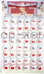 Wholesale Flag Pin Badges - Fashion badge! 48X National flag patterns designs Anime Badge Button Pins Party Gifts Diameter 30mm buy free shipping now