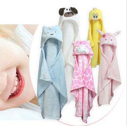 Wholesale Flannel Swaddle - Baby Blankets cartoon animal Blanket infant Swaddling kids Animal Hooded cloak 24 styles bath towel 96*76cm