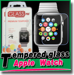 Wholesale Box Guard - Ultra Thin 9H 2.5D Tempered Glass Explosion Proof Screen Protector Film Guard for Apple Watch Iwatch 38mm 42mm with Retail Box High Quality