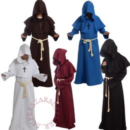 Wholesale Black Priest - Brand New Friar Medieval Cowl Hooded Monk Renaissance Priest Robe Costume Cosplay 5 Colors High Quality