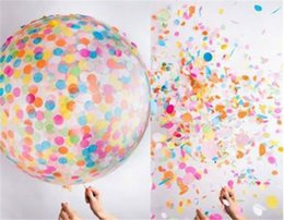 Wholesale Transparent Latex Balloon - 36 inch circular transparent paper balloon big color sequins latex balloon Kids Toys Birthday Party Wedding Decorations F1027