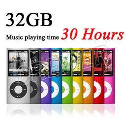 Wholesale Mp3 Video Music - Free Ship Slim 1.8' 4th gen 32GB 9Colors for choose mp3 player Music playing time 30Hours fm radio ebook video player