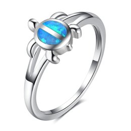 Wholesale Opal Turtle - Turtle Design Blue Opal Stone Rings 925 Sterling Silver Fashion Midi Rings Classic Wedding Bands Rings For Women