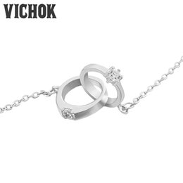 Wholesale Interlocked Necklace - Infinity Double Circles Necklace Prong Setting Pendants&Necklaces for Girls Interlocking Circles Pendant Necklace kolye High Quality VICHOK