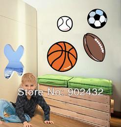 Pegatina removible de baloncesto online-Al por mayor-Fútbol Baloncesto Fútbol Extraíble Tatuajes de pared Pegatinas Muebles Niños Habitación Decoración Art Sticker - JiaMing Home Decoration