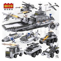 Wholesale Plastic Ass Toy - Set of military war boat 8 box 1 set, the number of building blocks with 743, 1 set with 8 box, children's educational intellectual toys ass