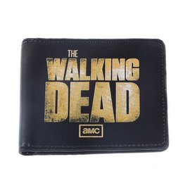 Wholesale Funny Cartoon Movies - American Movie Cartoon Wallets AMC THE WALKING DEAD Wallet Vintage Funny Printing Leather Purse ID Card Holder Men's Comics Wallet