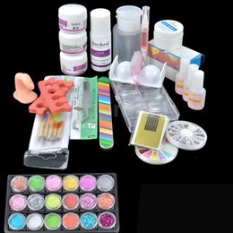 Wholesale Cheap Gel Nail Sets - Wholesale-Cheap Prcia Acrylic Glitter Powder Glue File French Nail Art UV Gel Tips Kit Set Dust Stickers Brush 31