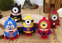Wholesale Minions Usb Drive - 2015 Cartoon minions captain america superman batman 256GB 128GB 64GB 32GB 16GB 8GB 4GB 2GB usb flash drive super hero pendrive thumb drive