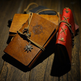 Wholesale Blank Leather Books - Vintage Style 4 Colr Leather Cover Netebook Replaceable Blank Paper Notepad String Nautical Feida Pirate Note Book