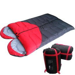 Wholesale Gear Love - Love Heart Couple Folding Camping Sleeping Bag Rectangular Double Contrast Color Backpacking Sleeping Bag Travel Gear Hiking Supplies SK415