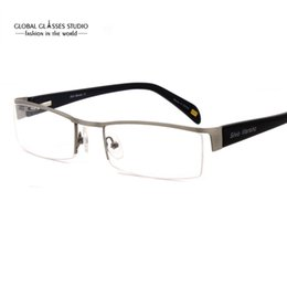 b92a5e7657d New Fashion Free Shipping Classic Design Half Frame Men Stainless Steel Eyeglasses  Optical Frames With Spring Hinge SM4018