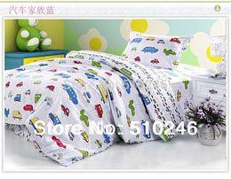 Wholesale Boys Full Bedding - Wholesale- kids children girl boy cartoon car 3pcs 100%cotton twin lovely printing duvet cover set bedding set
