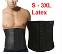 Wholesale Latex Clothing For Men - 100% Latex Waist Training Corsets For Mens Body Shapers Waist Trainer Steel Boned Waist Cincher Slimming Belt Gym Clothing