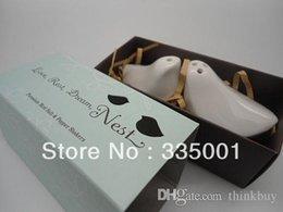 Wholesale Porcelain Salt Pepper Birds - Free shipping 15PCS LOT wedding gift of ceramic Porcelain Love Bird Salt & Pepper Shakers in blue Gift Box 052929