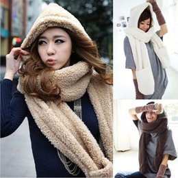 Wholesale Womens Hat Glove Sets - Wholesale-Warm Womens Hoodie set Gloves Pocket Earflap Hat glove sets women apparel accessories Scarf Sunny Girl A Nice Gift winter