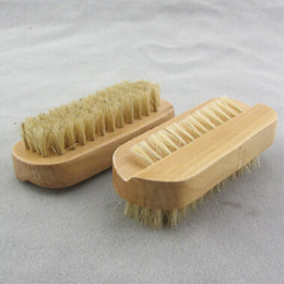 Wholesale Free Scrubber - Natural Boar Bristle Brush Wooden Nail Brush or Foot Clean Brush Body Massage Scrubber free shipping