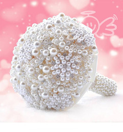 Wholesale Ivory Bridal Bouquets - Luxury Pearls Artificial Bouquet Handmade Crystal Ivory Brooch Bouquet 2018 New Wedding Flowers Bridal Bouquets