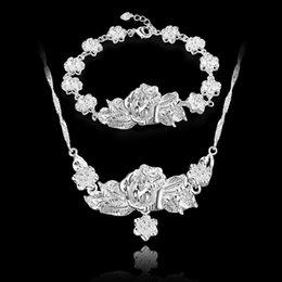 925 große silberne schmucksets Rabatt Heiße neue Top Verkauf 925 Silber Set Große und Kleine Rose Armband Halskette set Silber Schmuck 10 satz / los billig
