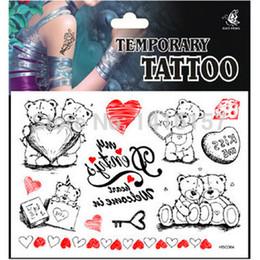 Wholesale Teddy Bears Order - Wholesale-Min.order is $10 (mix order) Cute Teddy Bear Pattern design Temporary Waterproof body art Tattoo Stickers HSC064