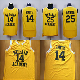 Wholesale Dryer Air - Mens #14 WILL SMITH BEL-AIR Academy Jersey #25 CARLTON BANKS 100% Stitched Throwback Basketball Jerseys Yellow High Quality