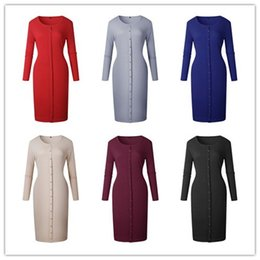 Wholesale Tight Knit Dresses - Lady casual solid color long sleeve tight fit slim buttons scoop neck knitted sweater base dress women fashion base long work dress