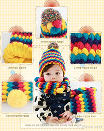 Wholesale Pineapple Knit Hat - 2015 winter warm baby hat and scarf set children colorful crochet knitted hats Pineapple ball cap neck circle scarves best gift for the kids