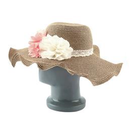 Wholesale Vintage Straw Hats - Wholesale-Hot New 1pc Cute Women Roll Brim Straw Hat Flower Vintage Summer Beach Folding Floppy Capest