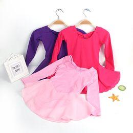 Wholesale Long Sleeve Child Ballet Dress - Children's Girls Ballet Clothes Long Sleeve Kids Child Pink Ballet Dance Leotard Dress Gymnastic Leotards For Girls